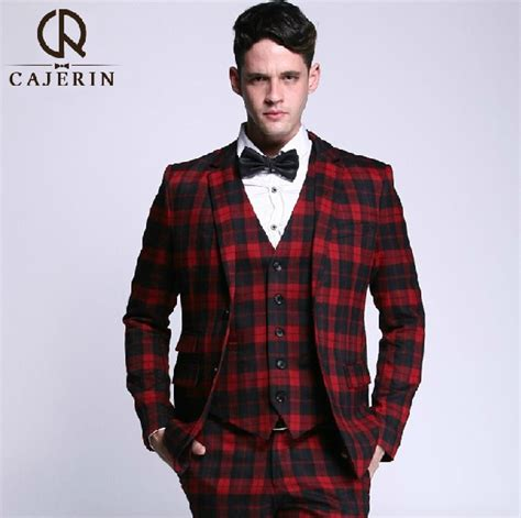 buy hot selling brand men red wool suit set latest coat checkered suits for sale dress yy