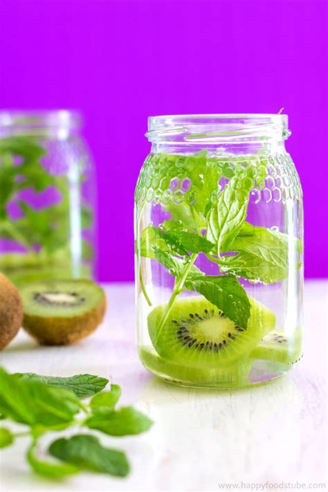 cara membuat infused water kiwi kiwi and mint infused water recipe 5 tips happy foods tube
