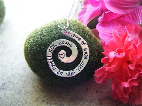 Hand stamped jewelry mom of boys work son up until son down necklace
