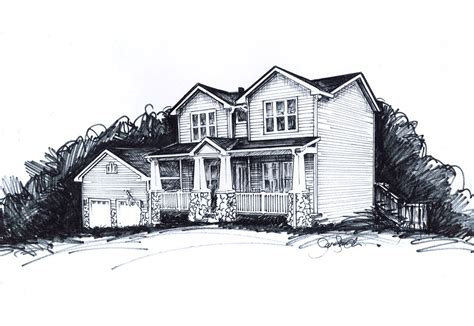 house of ink pen and ink illustration of a house