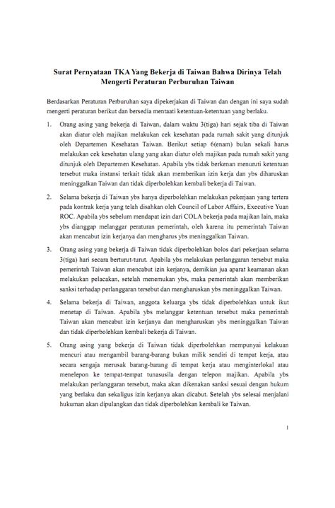 Contoh Surat Izin Meninggalkan Instansi by Surat Pernyataan Tka Tenaga Kerja Asing