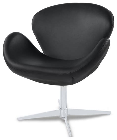 Swivel Occasional Chairs Swan Modern Swivel Occasional Chair Black Contemporary