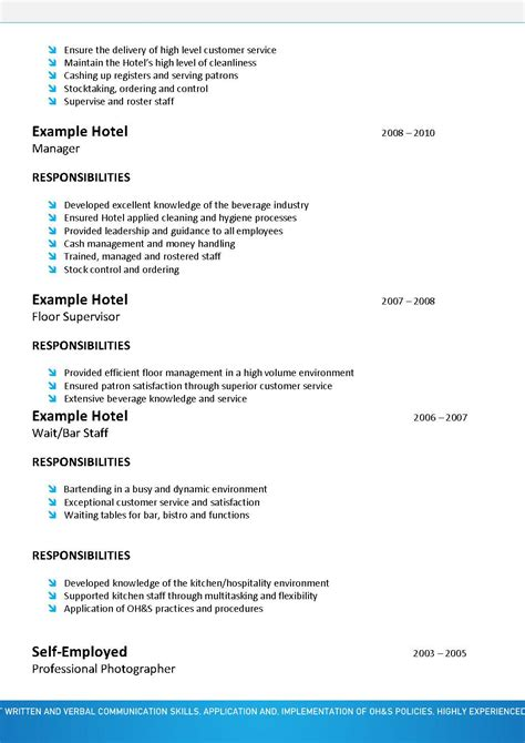 Resume Template Hospitality by Hospitality Resume Template 067