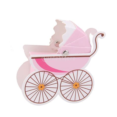 Baby Stroller Paper Box 10pcs stroller shape baby shower box favor paper gift free shipping in favors from