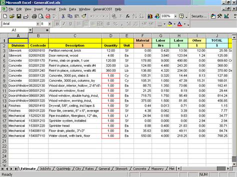 home building cost estimate download generalcost estimator for excel software