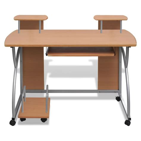 Mobile Office Desks Mobile Computer Desk Pull Out Tray Brown Finish Furniture Office Vidaxl