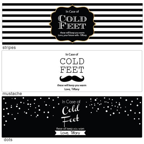In Case Of Cold Feet Socks Wrap 3 Pcs Groom S Gifts More Novelty Wedding Gifts Wedding Sock Label Template