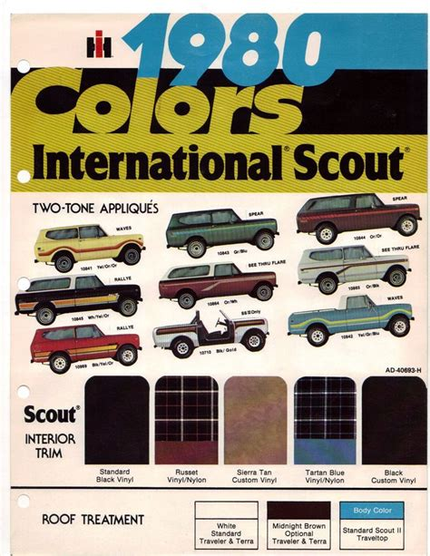 scout colors 1980 scout color chart ih scout