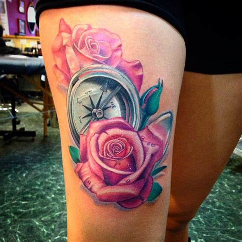 pink roses tattoo compass pink roses best design ideas
