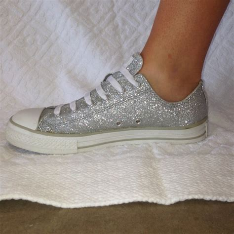 sparkle tennis shoes for 63 converse shoes converse silver sparkle slip on