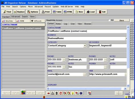 contact database template excel simple pim manger software for windows