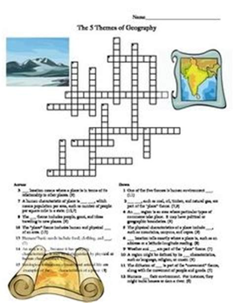 5 themes of geography crossword puzzle geography anchor charts and anchors on pinterest