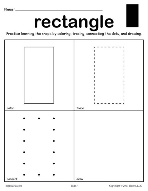 Rectangle Worksheet by Free Rectangle Worksheet Color Trace Connect Draw