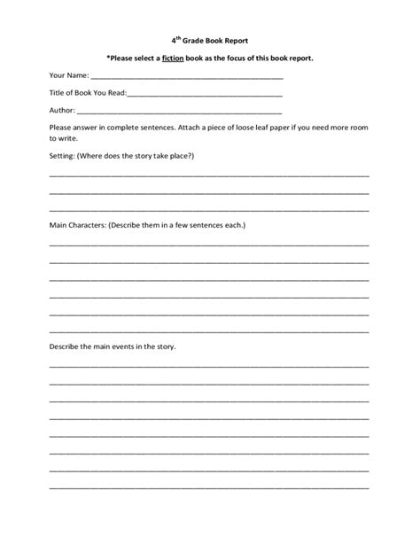 book report template 6 free templates in pdf word
