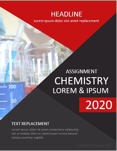 chemistry assignment cover pages ms word cover page