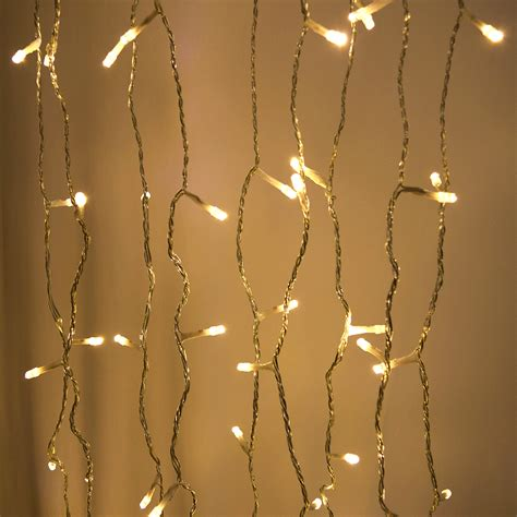 white curtain string light set