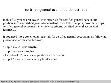 General Accountant Cover Letter by Certified General Accountant Cover Letter