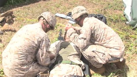 marines section 8 mortar explodes marines rush simulated casualty into