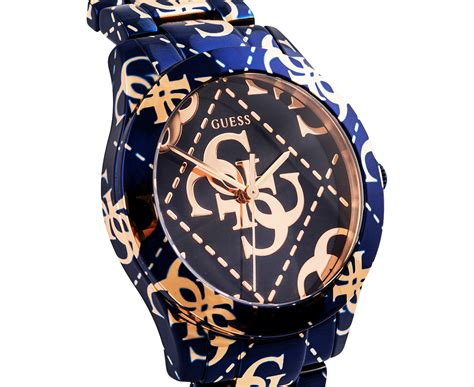 scoopon shopping guess s 40mm logo crazed blue gold