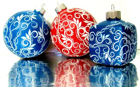 christmas blue and white christmas ornament hand painted glass