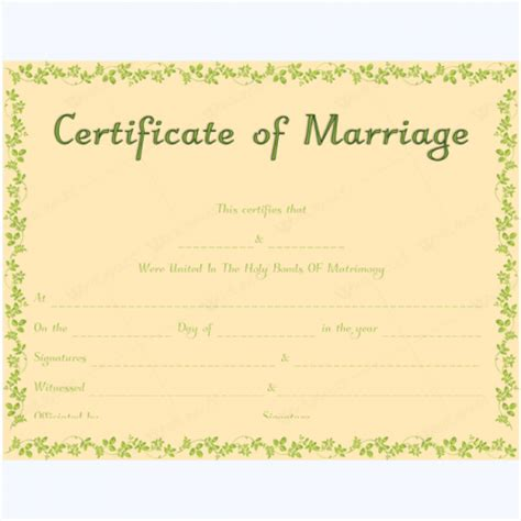 marriage certificate template microsoft word marriage certificate templates 500 printable designs