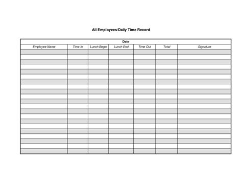 Daily Time Log Sheet Best Template Design Images Sign In And Out Timesheet Template