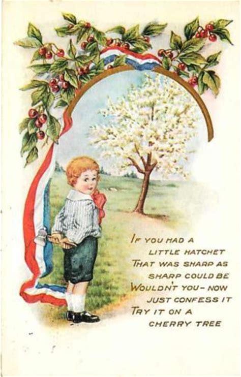 cherry tree president george washington 1920 boy washington hatchet cherry tree vintage postcard president s day and