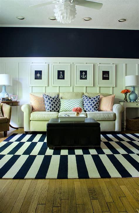 navy white living room navy and white board batten living room design