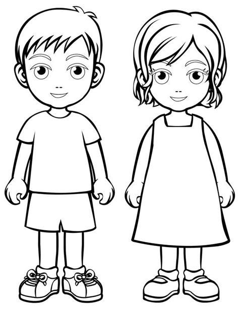 coloring page of boy thinking boy and girl coloring page pinteres