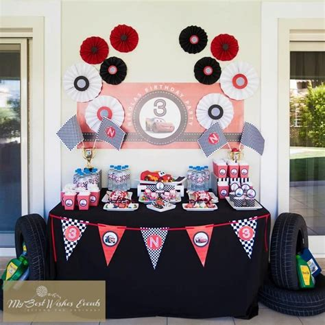 Decor And Main Party Table At A Disney Cars Themed Disney Cars Centerpiece Ideas