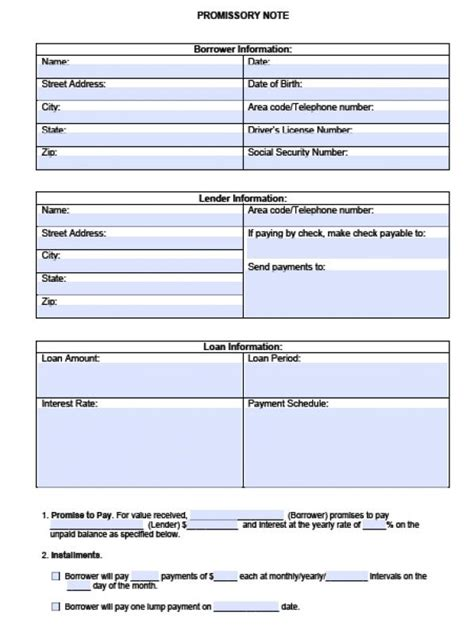 Blank Promissory Note Form Beneficialholdings Info Promissory Note Calculator Template