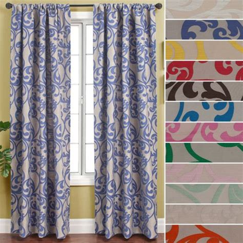 Red Curtain Valance Royal Scroll Rod Pocket Curtain Panel By Softline In Red