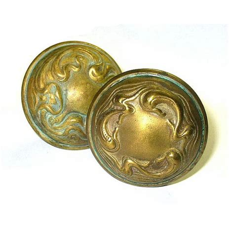 art nouveau knobs antique door knobs set hollow brass art nouveau motif
