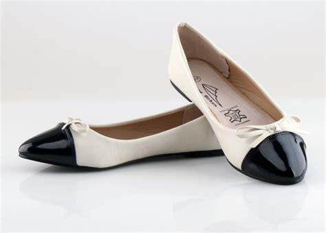 black and white flat shoes black and white bow princess shoes fashion color block