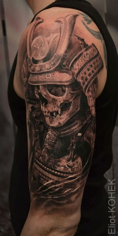 samurai tattoo black and grey 42 samurai skull tattoos designs