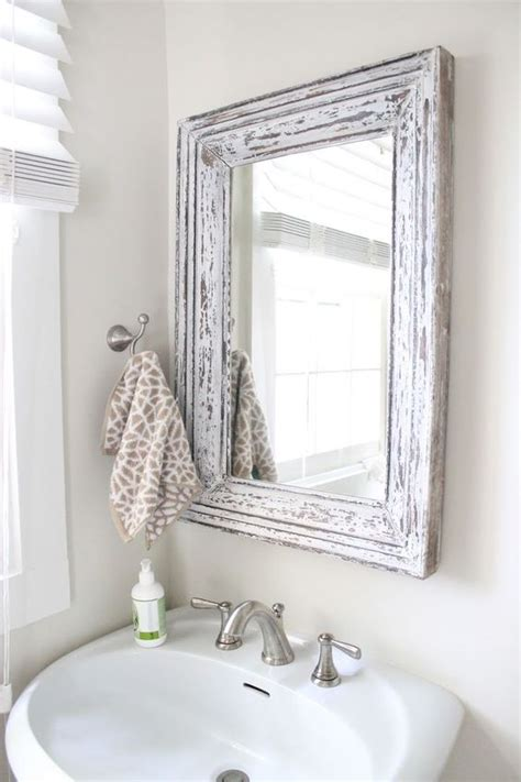 how to frame a bathroom mirror with molding rustic bathroom mirror use molding and distress to frame