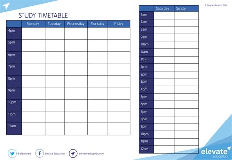 study times tables timetable calendar template 2016