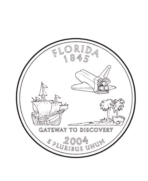 coloring page quarter florida state quarter coloring page coloring pages