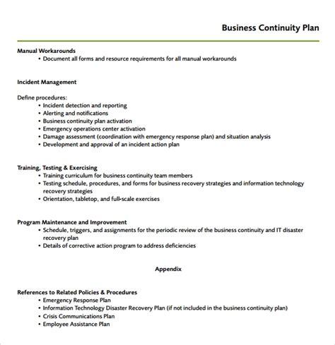 8 Continuity Plan Templates Sle Templates Business Resumption Plan Template