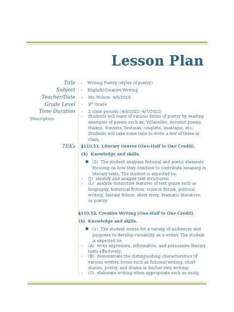 writing a biography lesson plan pdf writing poetry lesson plan poetry lesson plan
