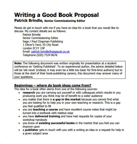 templates for writing a book book proposal template 16 free sle exle format