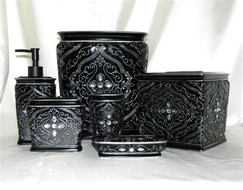 6 pc bath accessory set black silver rhinestone
