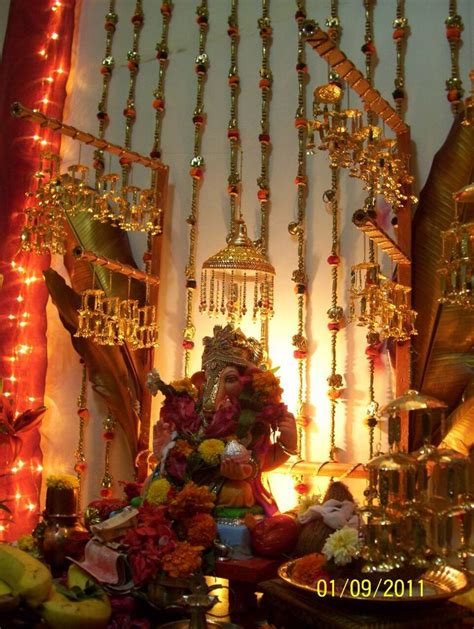 Home Ganpati Decoration by Decoration For Ganpati Indian Customs Pinterest