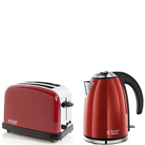 Red Russell Hobbs Toaster Russell Hobbs 1 7 Litre Jug Kettle Flame Red And 2 Slice