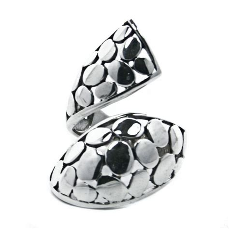 solid sterling silver adjustable mosaic wrap ring r011