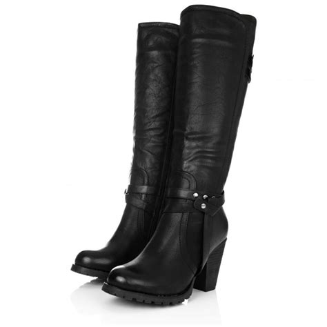 high heel boots buy august block heel knee high biker boots black leather