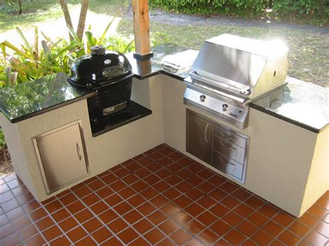 bbq kitchen ideas charcoal and wood kamado barbecue and an infrared gas