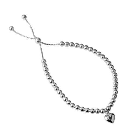 silver bead bracelet uk silver slider bead bracelet with silver charm
