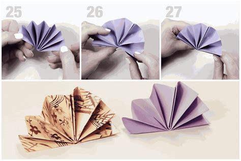 Origami Fans - origami standing fan napkin fold tutorial