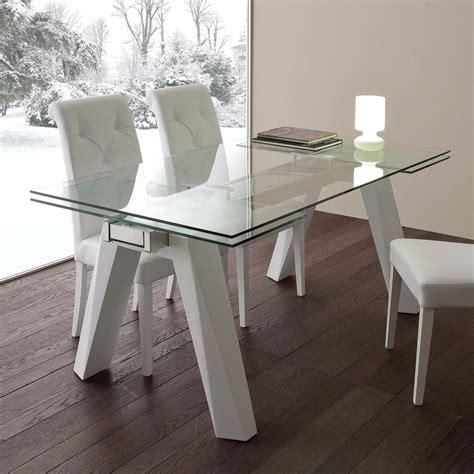 tavolo acciaio e vetro tavolo allungabile in vetro acciaio inox e metallo bianco